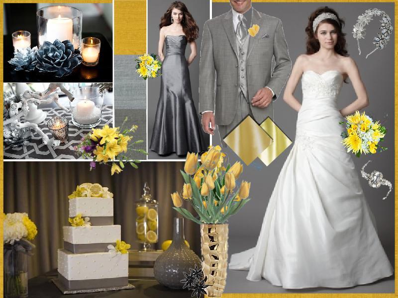 Trendy grey & yellow interior design & as a wedding color scheme ...