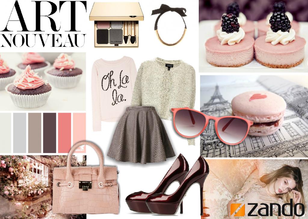 pretty in pink. art nouveau fashion mood board