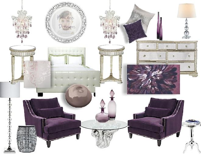 Bedroom suite with aubergine and cream color scheme