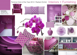 pantone color of the year 2014 radiant orchid interior design mood board