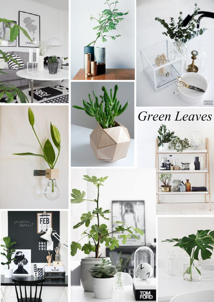 Trend Alert | Green Leaves in Vases Mood Board | created on www.sampleboard.com