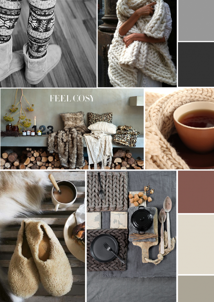 Digital winter mood board inspiration created on www.sampleboard.com