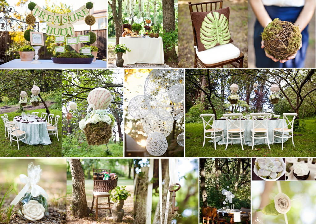 Forest bridal shower mood board created on www.sampleboard.com