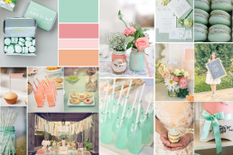 Peach mint bridal shower mood board created on www.sampleboard.com