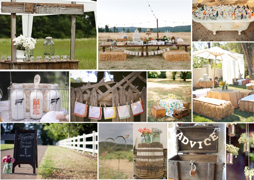 Rustic bridal shower mood board created on www.sampleboard.com