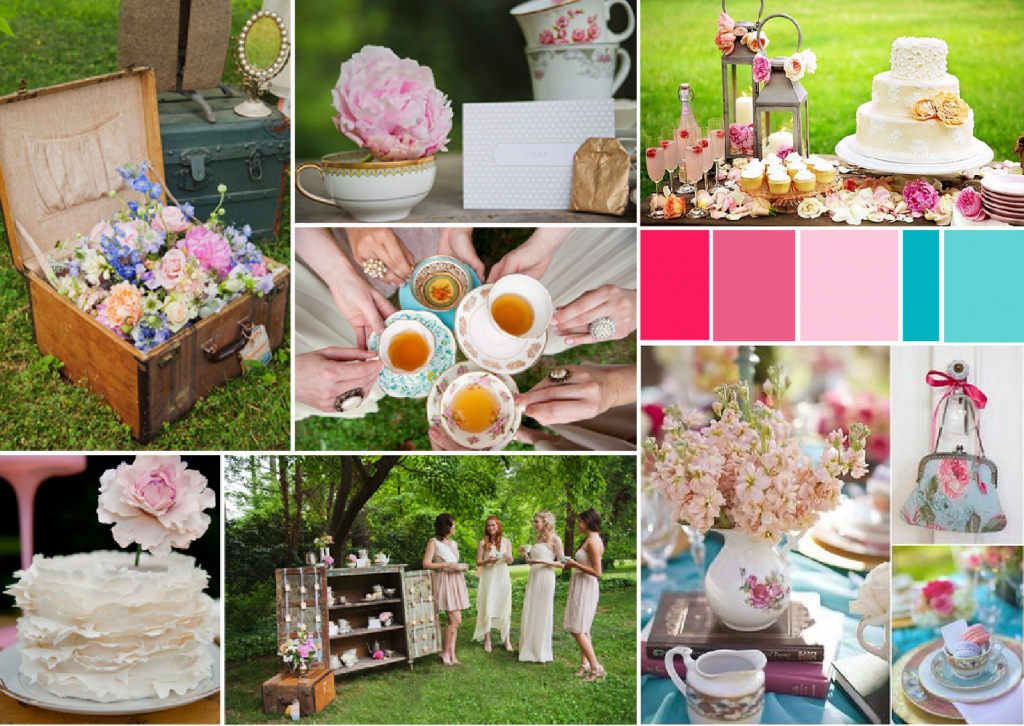 Tea party bridal shower mood board created on www.sampleboard.com