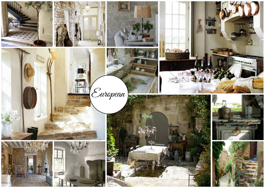 European Style Interior Design moodboard created on www.sampleboard.com