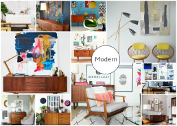 Mid Century Modern Art Mood Board created on www.sampleboard.com