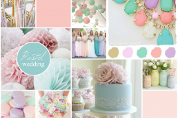 pastel wedding inspiration board created on www.sampleboard.com